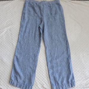 Chicos blue striped wide leg linen pants 2 L 12